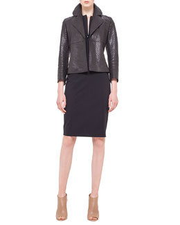 Akris punto Perforated Napa Leather Jacket & Cap-Sleeve Zip-Front Seamed Dress