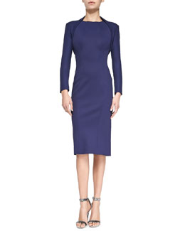 Zac Posen Stretch-Jersey Bolette & Sleeveless Jewel-Neck Fitted Dress