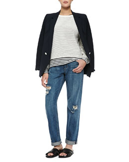 Theory Elkaey Contrast-Button Crepe Blazer, Tamrist Striped Puckered Top, Mirzi Striped Knit Wool Top & Tatiyana Destroyed Straight-Leg Jeans