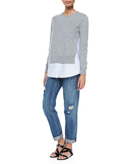 Theory Deverlyn Knit/Poplin Combo Top & Tatiyana Destroyed Straight-Leg Jeans