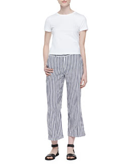 Theory Cropped Crewneck Classic Tee & Inza Striped Wide-Leg Pants