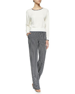 Theory Delpy Contrast-Trim Silk Top & Pajeema Striped Pull-On Pants