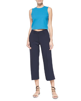 Theory Yuranda Cropped Sleeveless Top & Inza Wide-Leg Cropped Pants