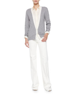 Theory Cashmere Yeryina Contrast-Trim Cardigan, Perfect Lightweight Long-Sleeve Blouse & Zhark Wide-Leg Jeans