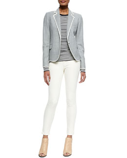 Theory Felisity Contrast-Trim Suiting Blazer, Mirzi Striped Knit Wool Top & Billy A Skinny Denim Jeans