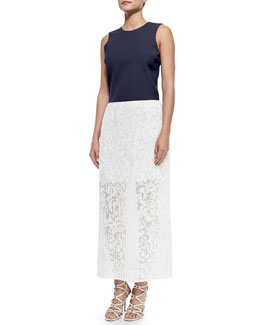 Theory Yuranda Sleeveless Boxy Top & Delva Pleated Burnout Maxi Skirt