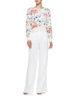 Theory Delpy Cropped Floral-Print Sweater & Univa Wide-Leg Twill Pants