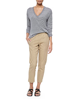 Theory Trulinda Striped Long-Sleeve Top & Korene Pull-On Tapered Pants