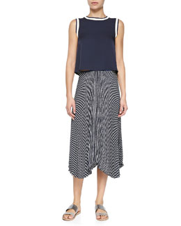 Theory Bonda Contrast-Trim Silk Top & Zeyn Striped Pleated Silk Skirt
