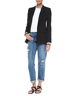 Theory Talyia Refiner Twofer Jacket W/ Stripes, Junjeen Crewneck Prosecco Tank Top & Tatiyana Destroyed Straight-Leg Jeans