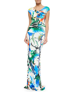 Roberto Cavalli Alize-Print Stretch-Knit Top & Jersey Maxi Skirt