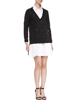 Thakoon Addition V-Neck Pullover W/ Embellished Flowers & Bias-Seam Cotton Shirtdress