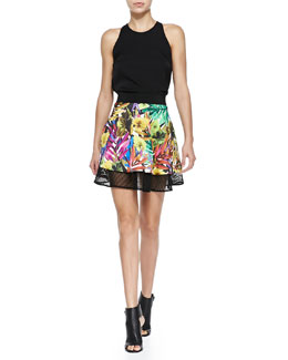 Milly Marie Crepe Tank & Tropical Mesh Circle Flounce Skirt