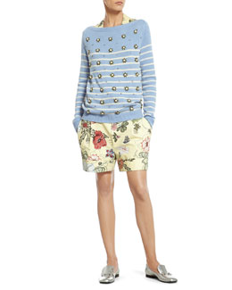 Gucci Striped Cashmere Sweater with Crystal Embroidery, Flora Knight Print Silk Shirt & Flora Knight Print Cotton Canvas Short