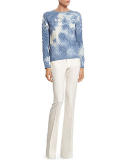 Gucci Tie-Dye Effect Wool Sweater & White Wool 60's Flare Pant