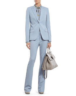 Gucci Blue Silk Wool Stretch Drill Jacket, Flora Knight Print Silk Straight Shirt & 60's Flare Pant