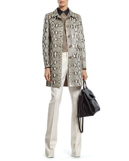 Gucci Mint Green Python Coat, Silk Crepe de Chine Shirt & White Wool 60's Flare Pant