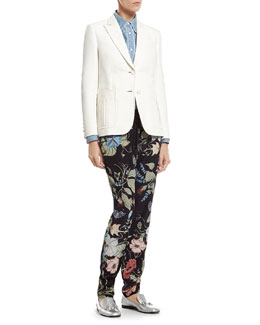 Gucci White Techno Cotton Jacket, Bleach Washed Denim Shirt & Flora Knight Print Silk Jogging Pant