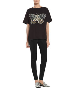 Gucci Kris Knight Butterfly Print T-Shirt & Black Stretch Cotton Skinny Pant