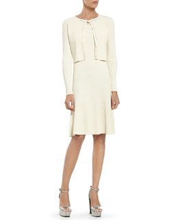 Gucci Pearl Viscose Crop Cardigan & Sleeveless Dress