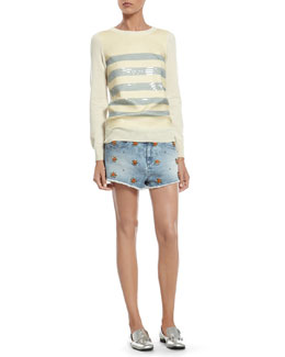 Gucci Cashmere Sweater with Striped Sequin Embroidery & Stretch Denim Short