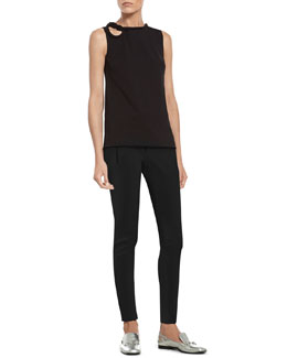 Gucci Black Stretch Viscose Top with Knot Detail & Black Stretch Cotton Skinny Pant