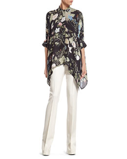 Gucci Flora Knight Print Silk Cape Shirt & White Wool 60's Flare Pant