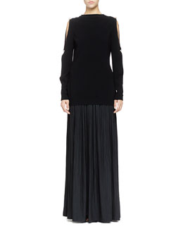 Lanvin Pearly Cold-Shoulder Knit Top & Long Pleated Washed Satin Skirt