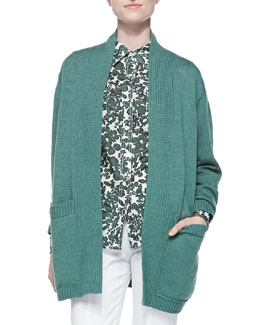 Tory Burch Bruna Wool Open Cardigan & Brigitte Vine-Print Blouse