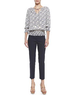 Tory Burch Nadia 3/4-Sleeve Printed Embroidered Top & Callie Skinny Ankle Pants