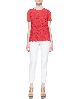 Tory Burch Katama Embroidered Floral Tee & Callie Skinny Ankle Pants