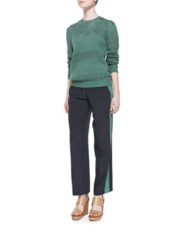 Tory Burch Leona Open-Stitch Paneled Sweater & Lennie Silk Colorblock Pants