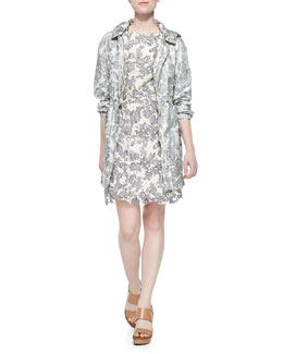 Tory Burch Shirley Floral-Print Hooded Jacket & Summer Two-Tone Lace Dress
