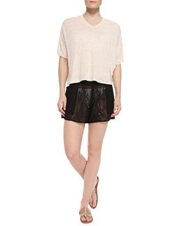 Alice + Olivia Oversize V-Neck Coverup Tee & Smocked-Waist Sheer Lace Coverup Shorts