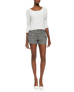 Alice + Olivia Terry Boat-Neck Knit Top & Cady Printed Structured Shorts