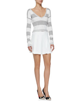 Alice + Olivia Wide-Stripe Cropped Knit Top & High-Waist Box-Pleated Shorts