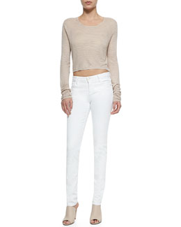 Alice + Olivia Ribbed Knit Crop Top & 5-Pocket Skinny Jeans