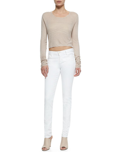 Ribbed Knit Crop Top & 5-Pocket Skinny Jeans