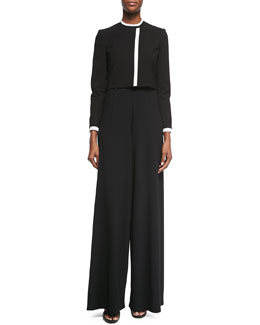 Alice + Olivia Contrast-Trim Cropped Jacket & High-Waist Wide-Leg Pants