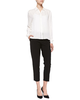 Alice + Olivia Perforated Long-Sleeve Silk Blouse & Stacey Slim Cropped Trousers