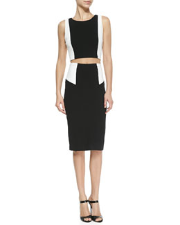 Alice + Olivia Two-Tone Sleeveless Crop Top & High-Waist Colorblock Pencil Skirt