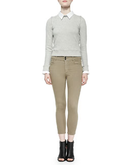 Alice + Olivia Combo Blouse/Sweatshirt Knit Pullover & High-Waist Cropped Skinny Jeans