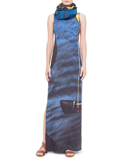 Akris punto Guitar-Print Ankle-Length Dress & Cotton/Cashmere Scarf
