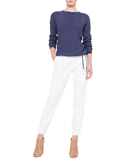 Akris punto Raglan-SleevePucker Sweatshirt & Mimi Tapered Ankle Pants