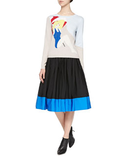 Alice + Olivia Sunbather Knit Long-Sleeve Sweater & Nako Full Contrast-Hem Skirt