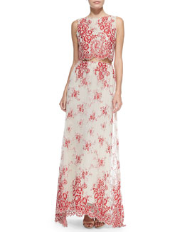 Alice + Olivia Avani Embroidered Cropped Sleeveless Top & Kira High-Low Organza Maxi Skirt