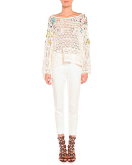 Emilio Pucci Poppy Rocks Embroidered Crochet Pullover & Clean-Front Capri Pants