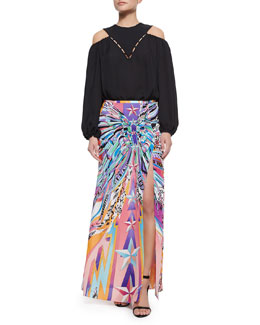 Emilio Pucci Blouson-Sleeve Cutout Top & Feather-Print Double-Georgette Slit Long Skirt