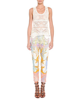 Emilio Pucci Crochet Knit Tank Top & Sateen Wings and Stars Printed Pants