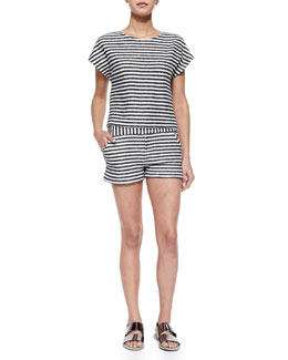 Alice + Olivia Striped Back-Zip Crop Top & Striped Classic Shorts